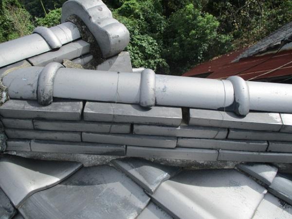 千葉県市原市 瓦屋根・漆喰工事 棟のずれ・積み直し 割れた瓦の補修 (4)