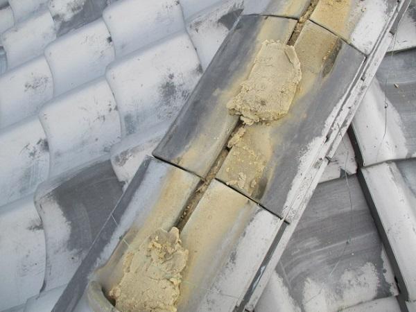千葉県市原市 瓦屋根・漆喰工事 棟のずれ・積み直し 割れた瓦の補修 (2)