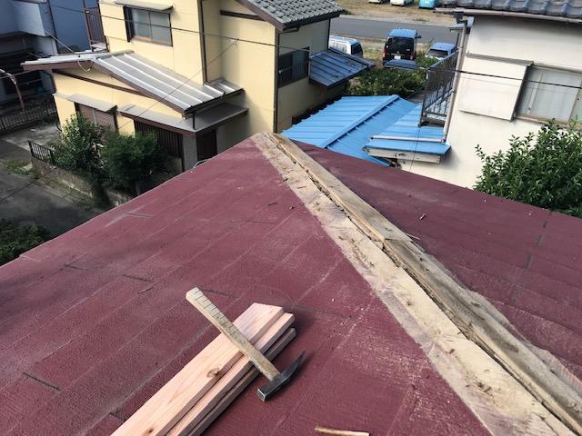 千葉県木更津市 屋根板金工事 化粧スレート屋根 棟板金の修理 (2)