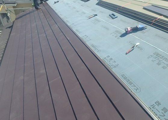千葉県市原市 屋根葺き替え工事 野地板・ルーフィングの交換 瓦屋根からガルバリウム鋼板へ4